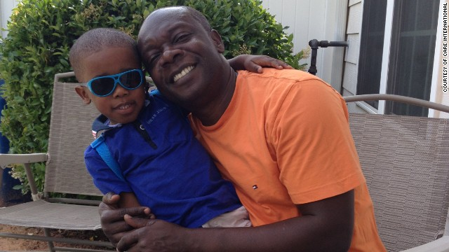 Michael Alandu with his son John Paul.