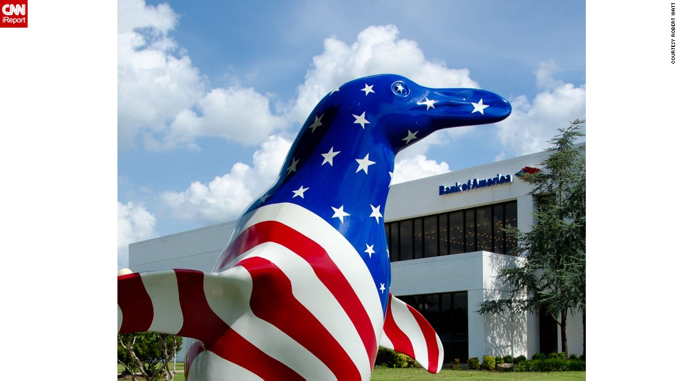 "In celebration of America's independence, we ventured to find out the most unusual places you've spotted the American flag. <a href=""http://ireport.cnn.com/docs/DOC-1142968"">Robert Watt </a>kicks this gallery off with a photo of a patriotic penguin installation in Tulsa, Oklahoma. The art project was created to celebrate the 75th anniversary of the Tulsa Zoo and raise money for its penguin exhibit in 2012."