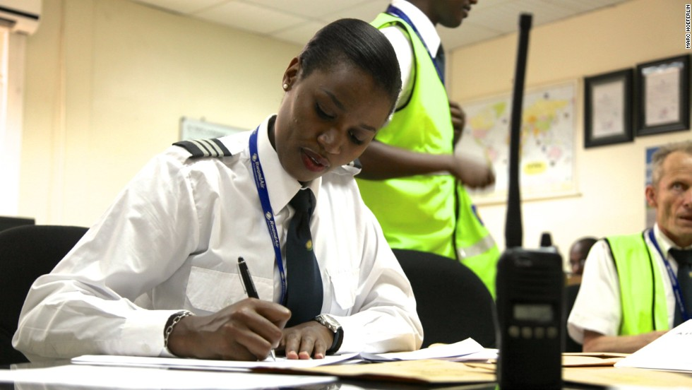 "Being a pilot isn't just sitting in the cockpit, explains Mbabazi. ""Basically you need to know your crew: who you are flying with, and the weather, from your departure, your arrival and your alternate, if the weather in your destination is not good, so you need the alternate as well."" And that's before you even get onto the aircraft..."