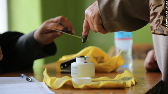 Ink on the finger indicates that a person has voted in Afghanistan's presidential runoff election.