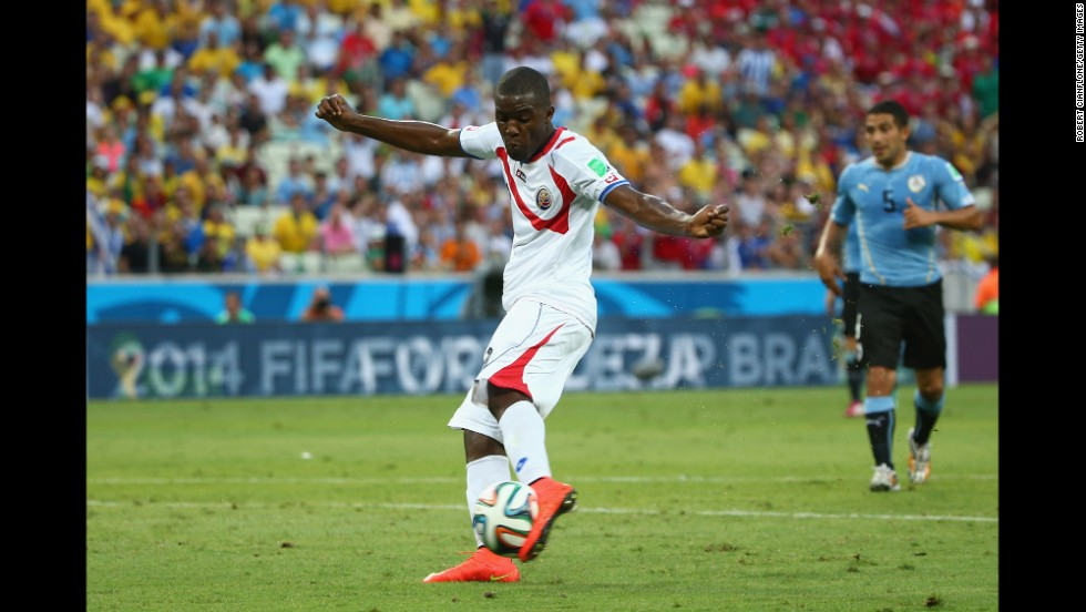 Joel Campbell scores Costa Rica's equalizer against Uruguay.