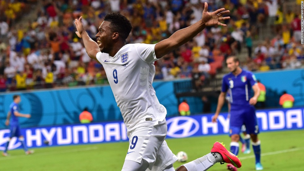 England forward Daniel Sturridge celebrates after scoring a first-half equalizer against Italy.