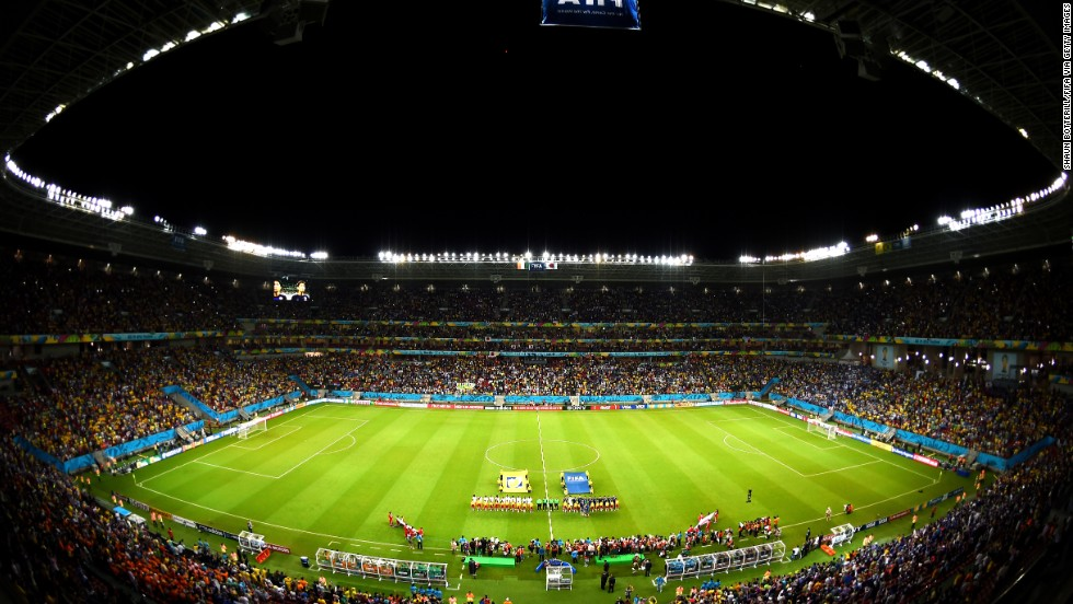 A view of the stadium as the players prepare for action.