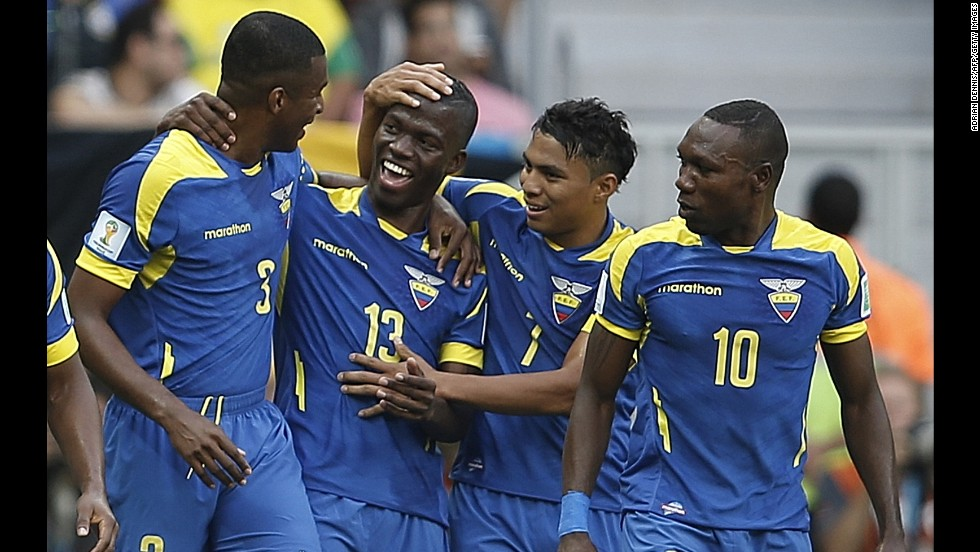 Ecuador forward Enner Valencia, second left, celebrates with his teammates after his 22nd-minute goal.