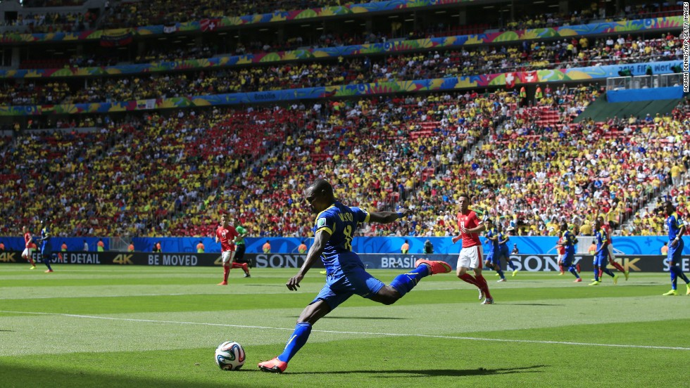 Ecuador's midfielder Walter Ayovi clears the ball upfield.