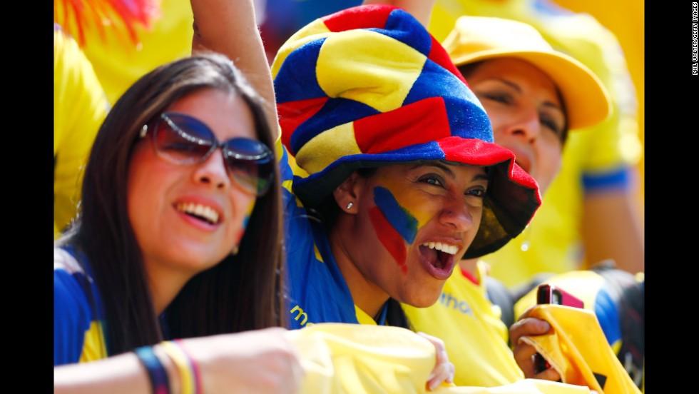 Ecuador fans cheer their team.