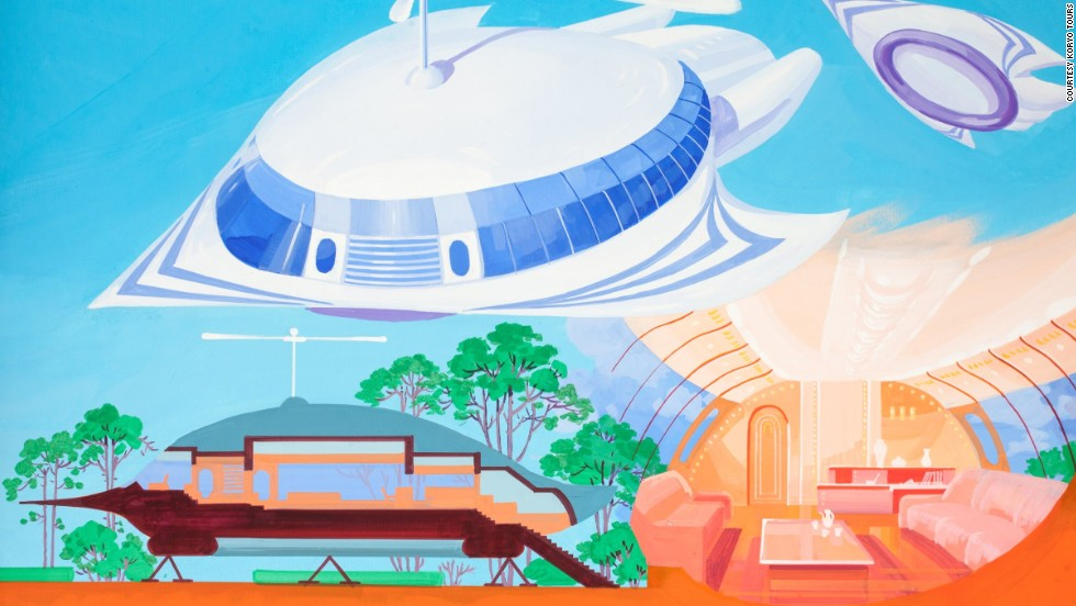 Exhibiting more blue-sky thinking, this image depicts a flying house that can double up as a hovercraft.