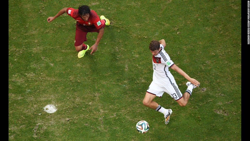 Mueller's second goal put Germany up 3-0 right before halftime in Salvador, Brazil.