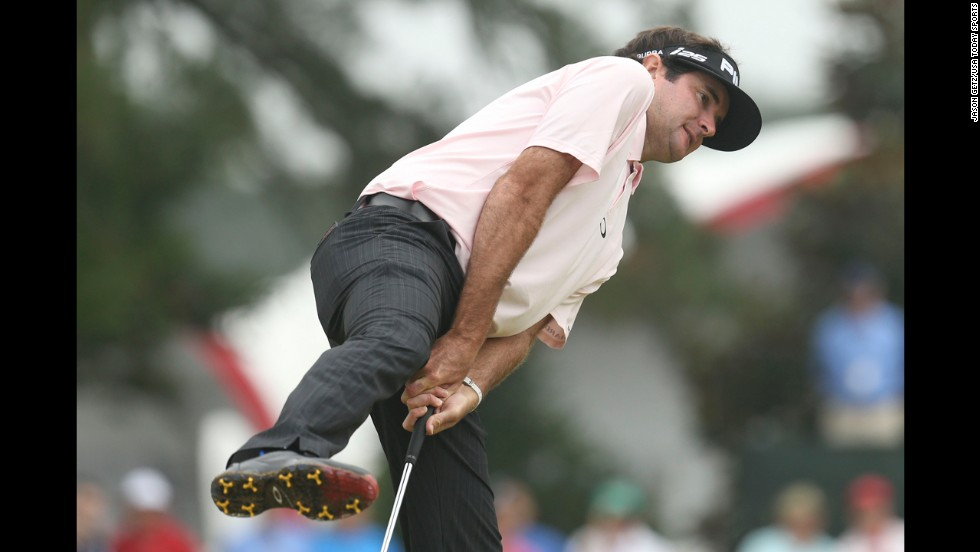 Bubba Watson reacts after missing a putt during the second round of the U.S. Open on Friday, June 13. Watson, who won the Masters tournament earlier this year, missed the cut at Pinehurst No. 2.