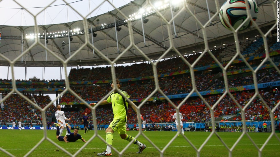 Van Persie's header began an embarrassing night for Spain's captain and goalkeeper Iker Casillas, who was at fault for two goals.