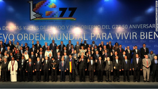 Leaders and representatives of developing countries participating in the UNs G77+China Summit, pose for the family picture in Santa Cruz, Bolivia, on June 15, 2014. The UN sponsored event calling for a more fair new world economic order meets again on Sudnay to draft a global anti-poverty agenda.