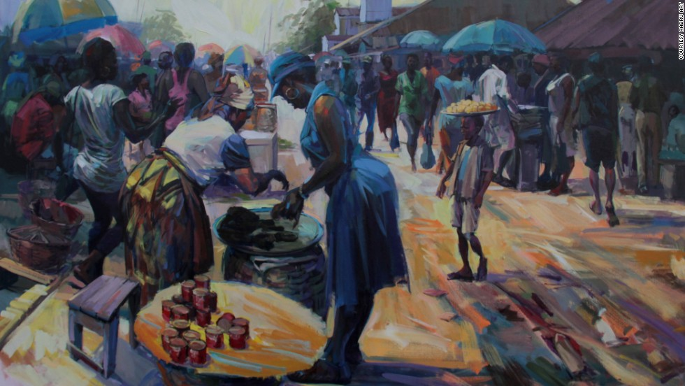 """I get inspired by attending markets, not the ones here in London, they are a bit too organized,"" Ogiogu says. ""It helps to see the movement, how people bargain, the colors. Materials inspire me as well; when I smell the turpentine I want to paint."" (<em>Pictured:</em> ""<em>Sweet Mama"")</em>"