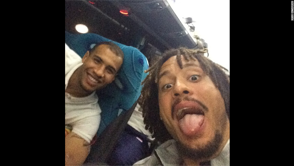 """Jermaine Jones, a midfielder on the United States national soccer team, posted this selfie to <a href=""""http://instagram.com/p/pVAx_0KGWO/"""" target=""""_blank"""">his Instagram account</a> Monday, June 16, hours after the United States won its World Cup opener against Ghana. Jones, right, is joined in the photo by John Brooks, who scored the winning goal in the last few minutes of the match."""