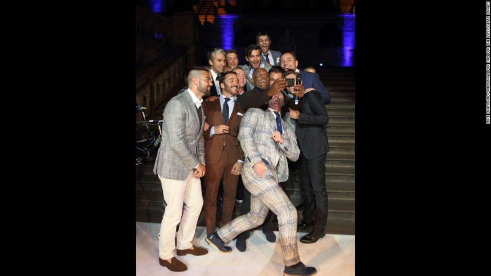 Actor Samuel L. Jackson holds the phone as he takes a group selfie with some famous faces, including actors Simon Pegg and Jeremy Piven, at the One for the Boys charity fashion ball in London on Sunday, June 15. Jackson was hosting the event, which raised money for male cancer awareness.