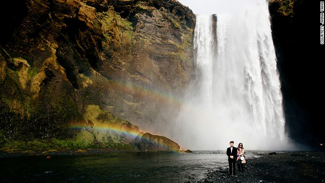 Skogafoss Waterfall in Iceland was one of many dramatic stops for the dad-daughter duo.