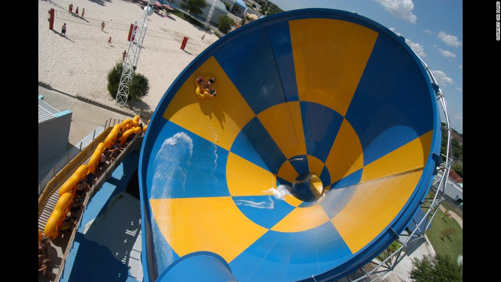 Death-defying rides like the Tornado (shown here) at Six Flags Hurricane Harbor in Arlington, Texas, will soak and thrill you during hot summer days. The park ranked 10th in attendance among U.S. water parks in 2013.