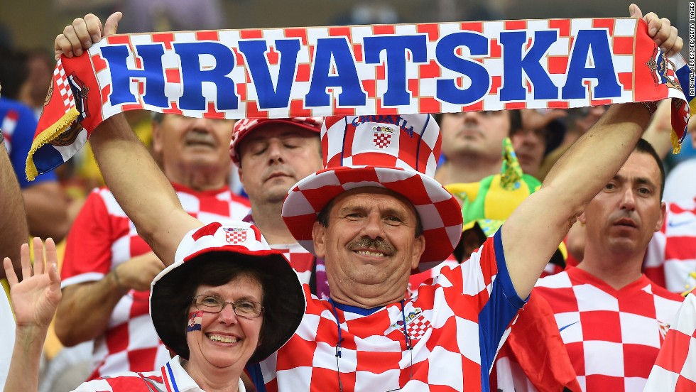 Croatian supporters cheer for their team ahead of the match against Cameroon.
