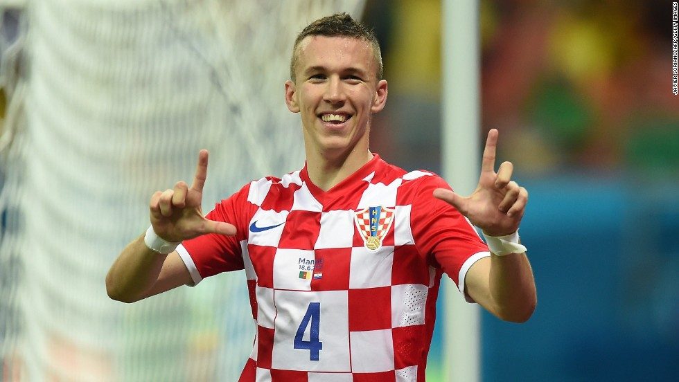 Croatia's Ivan Perisic celebrates after scoring against Cameroon.