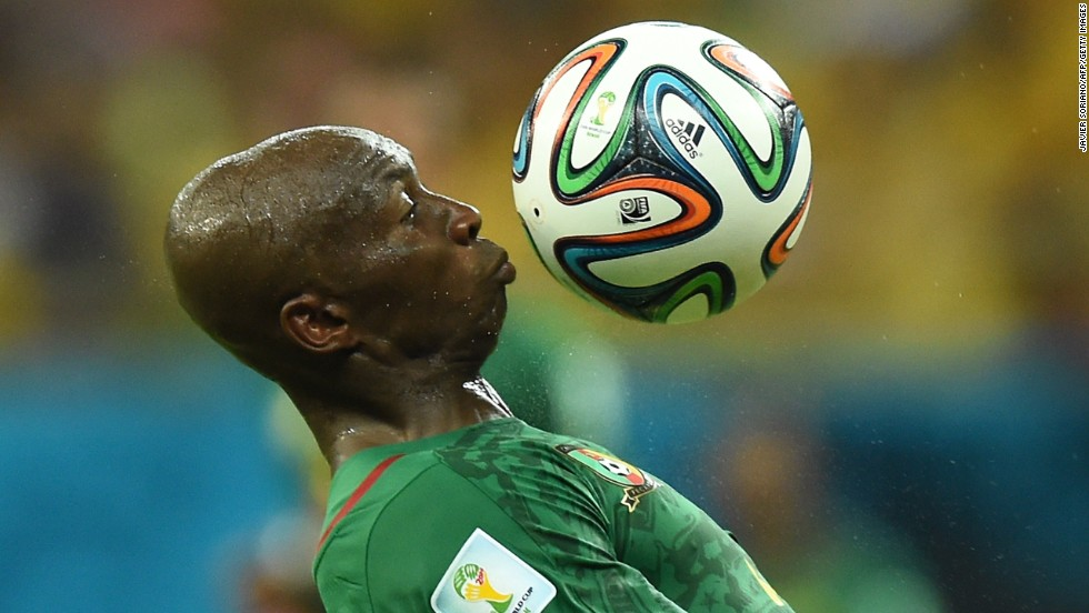 Cameroon's Stephane Mbia controls the ball.