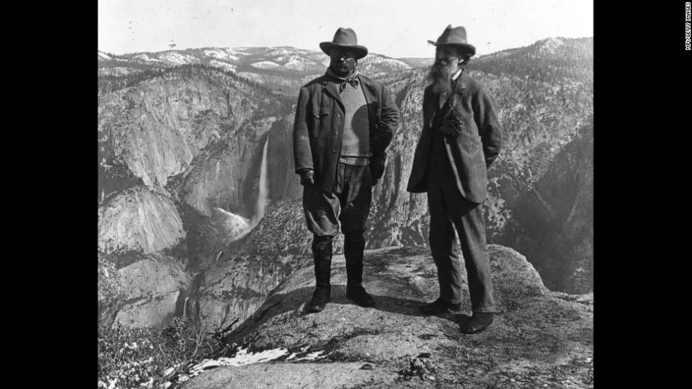"<a href=""http://www.nps.gov/thro/historyculture/theodore-roosevelt-and-conservation.htm"" target=""_blank"">President Theodore Roosevelt</a>, left, and conservationist and Sierra Club founder John Muir stand on Yosemite National Park's Glacier Point in 1903. After camping in the wilderness, Roosevelt wrote: ""It was like lying in a great solemn cathedral, far vaster and more beautiful than any built by the hand of man."""