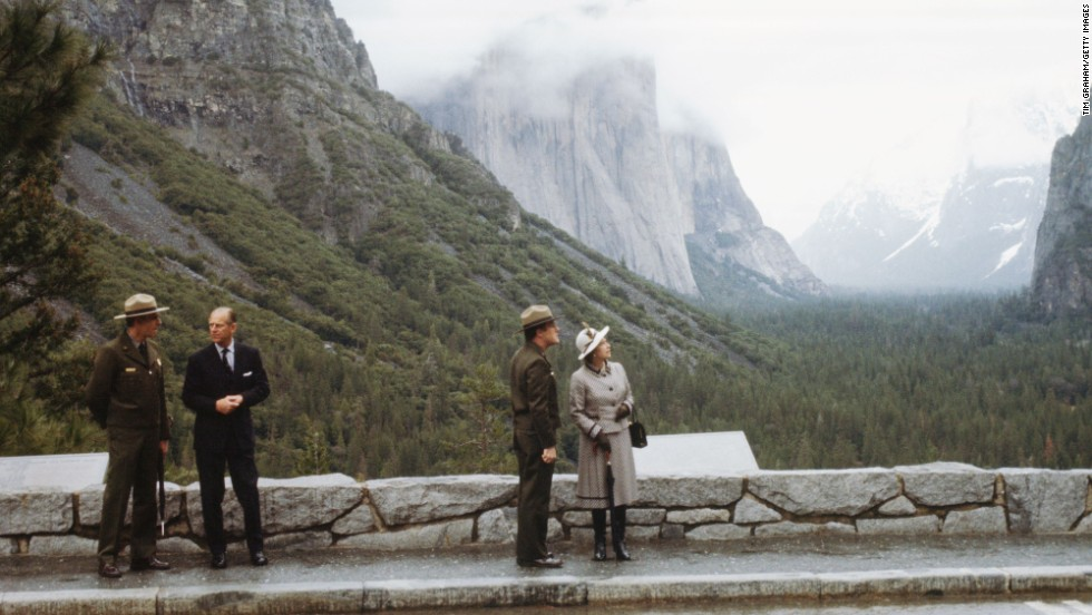 Queen Elizabeth II visits Yosemite National Park while touring the West Coast of the United States in 1983.