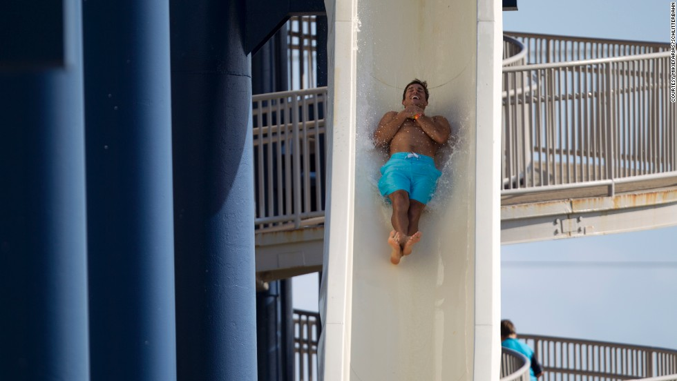The Cliffhanger Speed Slides are one of the star attractions at the Schlitterbahn Waterpark in Galveston, Texas. Starting at 81 feet high, riders can free fall to reach speeds approaching 40 mph. The park attracted more than a half million visitors in 2013.