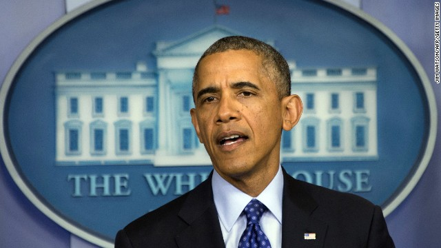 US President Barack Obama makes a statement on Iraq from the press briefing room at the White House in Washington, DC, June 19, 2014.  The US is prepared to take 'targeted' 'precise' military action in Iraq. AFP PHOTO / Jim WATSON        (Photo credit should read JIM WATSON/AFP/Getty Images)