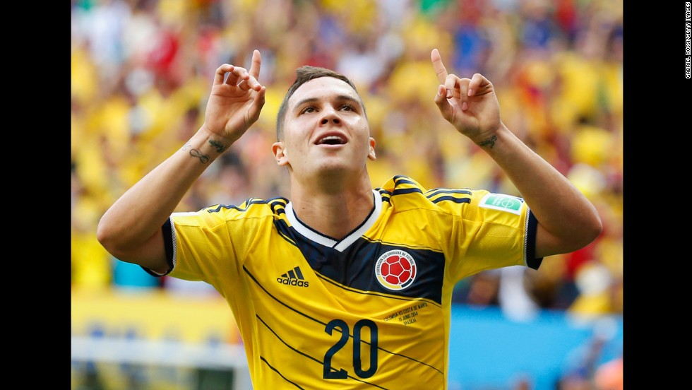 Colombian forward Juan Fernando Quintero celebrates after his goal gave his team a 2-0 lead.