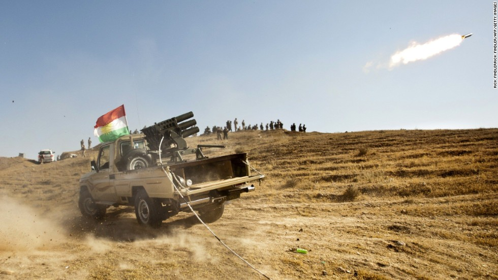 "Kurdish Peshmerga forces fire missiles in Iraq's Diyala province as they clash with Islamic militant fighters on Saturday, June 14. Vast swaths of northern Iraq, including the cities of Mosul and Tal Afar, have fallen as the Islamic State in Iraq and Syria, or ISIS, <a href=""http://www.cnn.com/2014/06/13/world/gallery/iraq-under-siege/index.html"">advances toward Baghdad</a>. The ISIS militants want to establish a caliphate, or Islamic state, in the region."