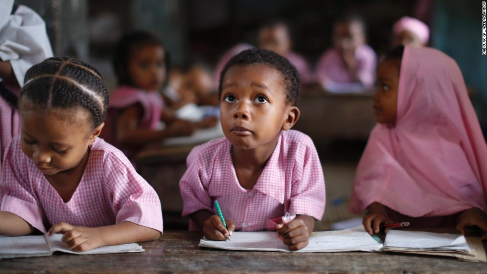 Children study at a small school in the Matondoni village of Kenya's Lamu Island on Wednesday, June 18.