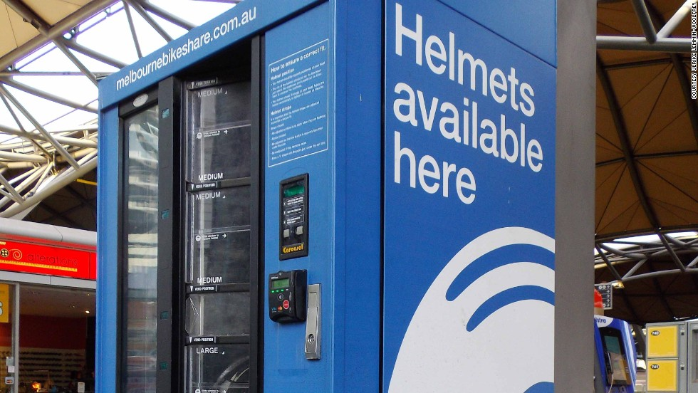 Just arrived in Melbourne, Australia, without this important cycling accessory? Helmets sold in vending machines come in three sizes and one design.