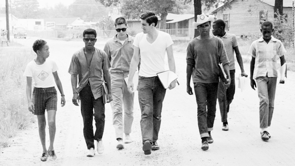 "A group of Freedom Summer volunteers and locals canvass in Mississippi. A PBS documentary, ""Freedom Summer,"" looks back at an interracial group of college students who worked in Mississippi for 10 weeks in summer 1964 to register African-American voters."