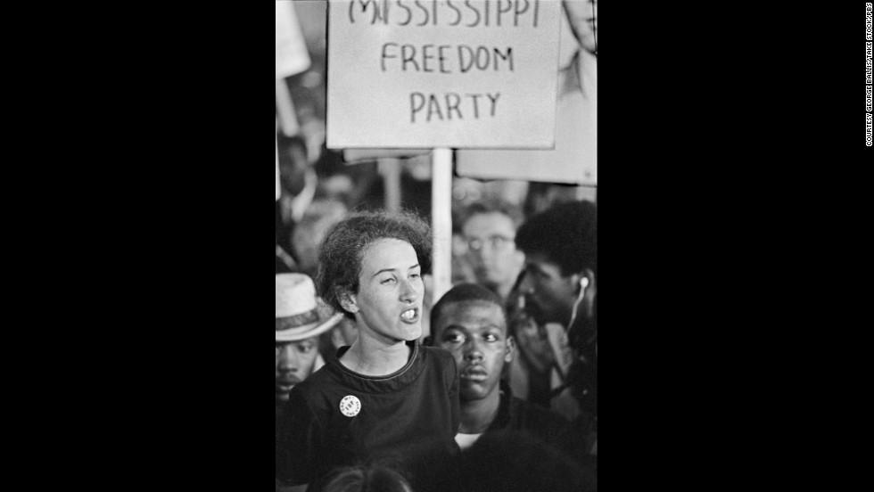 Rita Schwerner, wife of slain civil rights leader Mickey Schwerner, attends a boardwalk rally.