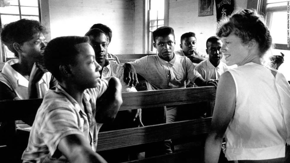 Edie Black, a volunteer from Smith College, teaches freedom school at Mileston, a community of independent African-American farmers in the Mississippi Delta near Lexington.