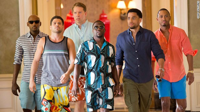 "Kevin Hart (center in sun glasses) leads the cast of ""Think Like A Man Too."""