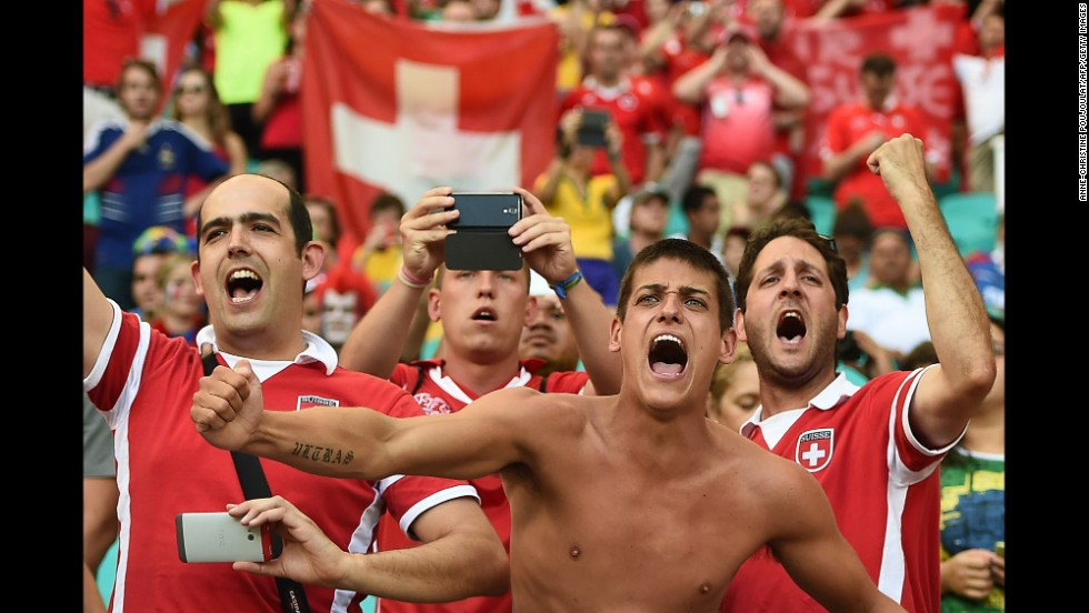 Switzerland fans cheer before the match.
