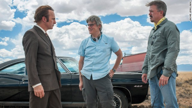 "Bob Odenkirk as Saul Goodman, Peter Gould and Vince Gilligan during filming of season one of ""Better Call Saul."""
