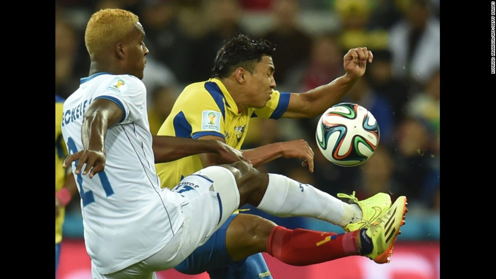 Honduras defender Brayan Beckeles, left, controls the ball during a World Cup match between Honduras and Ecuador at the Baixada Arena in Curitiba, Brazil, on Friday, June 20.  Ecuador defeated Honduras 2-1.