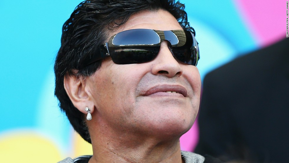 Argentine legend Diego Maradona looks on during the match.
