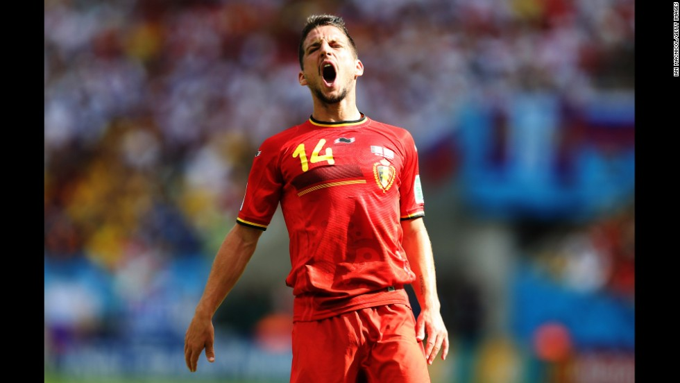 Dries Mertens of Belgium reacts to a play against Russia.