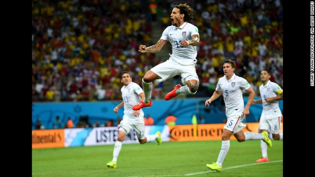 Jermaine Jones of the United States celebrates scoring his team's first goal in a World Cup game against Portugal at Amazonia Arena in Manaus, Brazil, on Sunday, June 22.