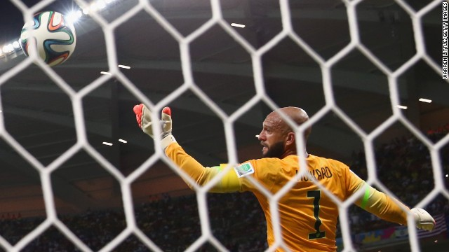 Caption:MANAUS, BRAZIL - JUNE 22: Silvestre Varela of Portugal scores his team's second goal on a header past Tim Howard of the United States during the 2014 FIFA World Cup Brazil Group G match between the United States and Portugal at Arena Amazonia on June 22, 2014 in Manaus, Brazil. (Photo by Warren Little/Getty Images)