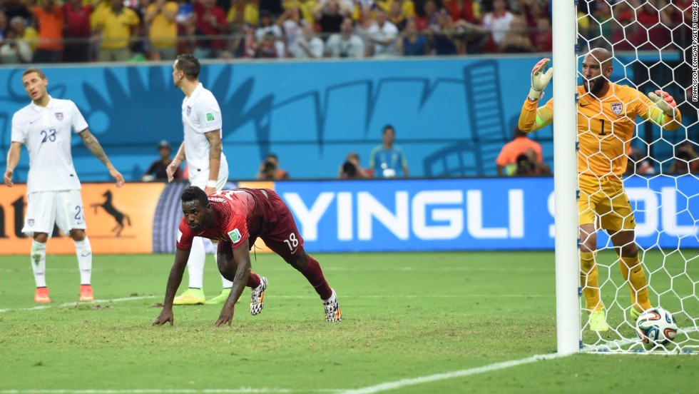 Portugal forward Silvestre Varela gets up after scoring his team's dramatic second goal in the last moments against the United States at Arena Amazonia in Manaus, Brazil, on Sunday, June 22. The final result was a 2-2 draw.