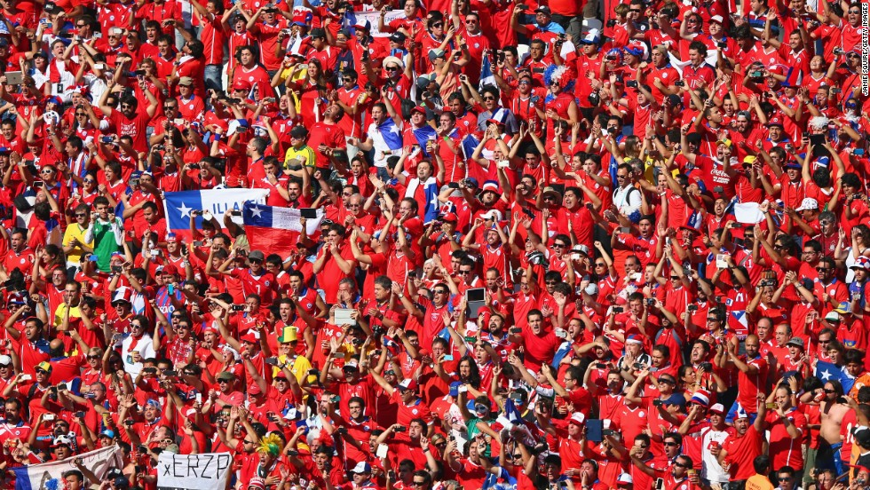 Chile fans cheer prior to the match between the Netherlands and Chile at Arena de Sao Paulo.