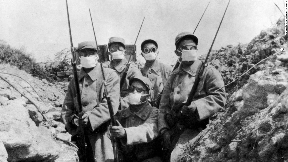 World War I ushered in an era of chemical weapons use that lingers, lethally, into the present day. About 1 million casualties were inflicted, and 90,000 were killed. Here, French troops wear an early form of gas mask in the trenches during the first widespread use of gas, by the Germans at the Second Battle of Ypres in 1916.