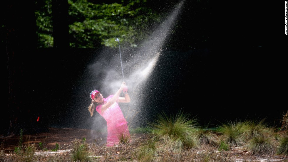 Lexi Thompson of the United States hits a shot on the third hole during the third round of the 69th U.S. Women's Open on Saturday, June 21, in Pinehurst, North Carolina.