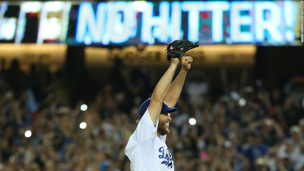 Clayton Kershaw of the Los Angeles Dodgers reacts after pitching a no-hitter against the Colorado Rockies on Wednesday, June 18, in Los Angeles. The Dodgers won 8-0.