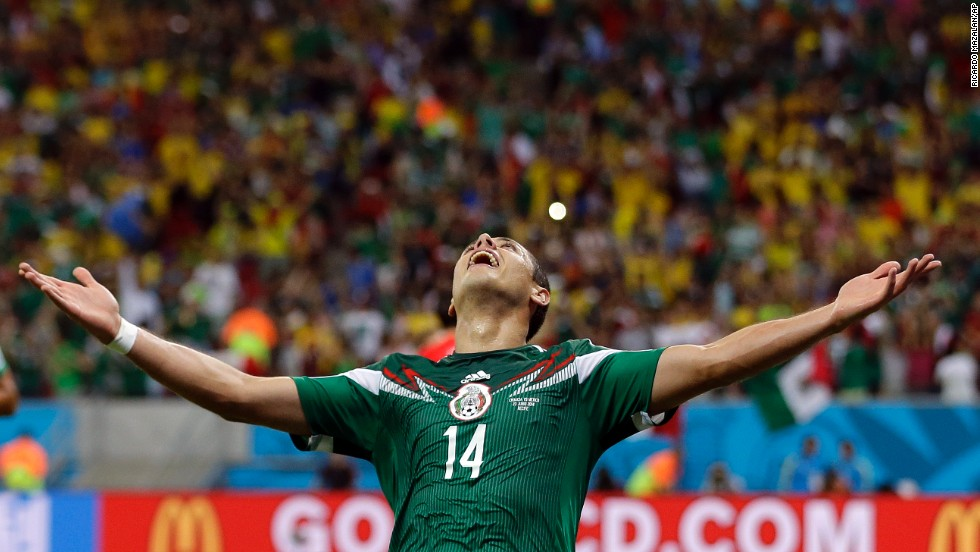 Mexico's Javier Hernandez celebrates after scoring his team's third goal against Croatia.