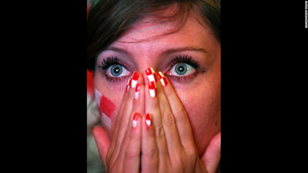 A Croatia supporter reacts during the game between Cameroon and Croatia on June 18. Croatia won 4-0.