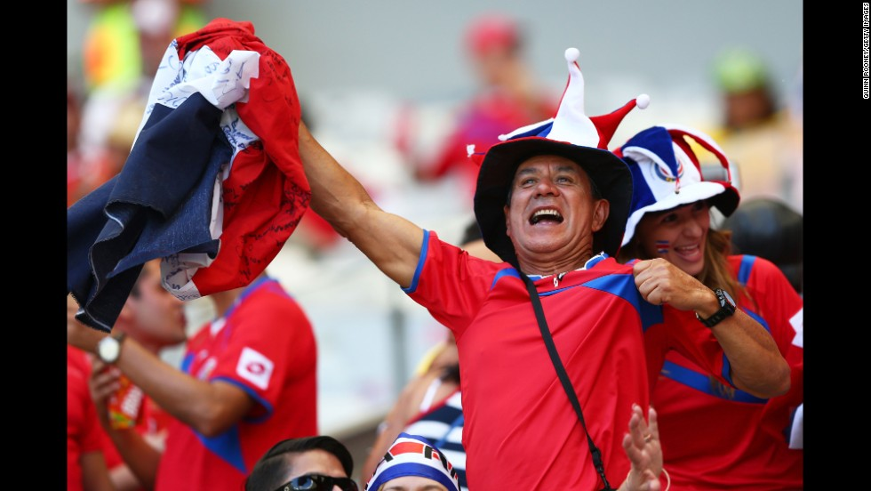 "A Costa Rica fan enjoys the atmosphere prior to the match against England. <a href=""http://www.cnn.com/2014/06/23/football/gallery/world-cup-0623/index.html"">See the best World Cup photos from June 23.</a>"